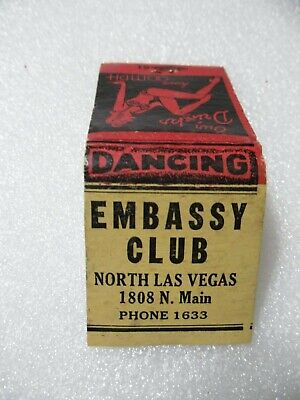 Las Vegas '40s-'50s EMBASSY CLUB Casino Dancing Girly matchbook matchcover chip