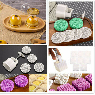 50g/70g/125g Moon Cake Mold Round/Square Flower Stamps Baking Tools Party DIY
