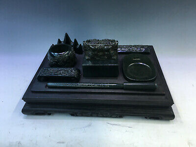 Charming Old Chinese Jasper Graven Jade Tablet With Rosewood box