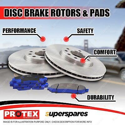 Protex Front Disc Brake Rotors Blue Pads for Mitsubishi Lancer CH ES 2.4L VR-X