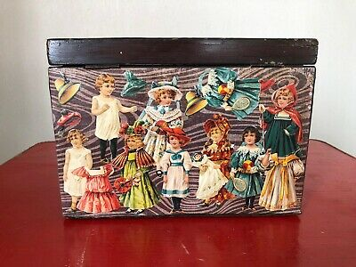 Victorian Decoupage Solid Wood Box Brass Handles