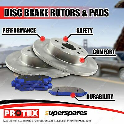 Protex Rear Disc Brake Rotors + Blue Pads for Mitsubishi Lancer CH ES 2.4L VR-X