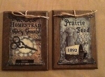 5 WOODEN Handcrafted Prim Hang Tags/Prim Country ORNIES/Vintage Ornaments SETk