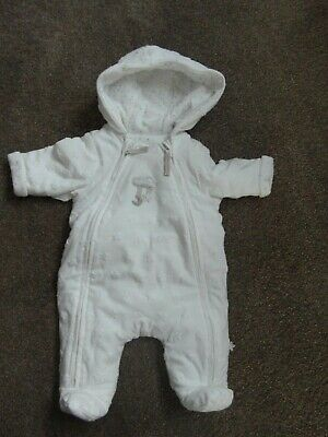 Pre-Owned: NEW BABY PADDED ALL-IN-ONE SUIT from MOTHERCARE - WHITE & GOLD STARS