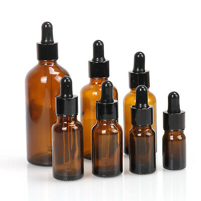 5-100ml Amber Glass Liquid Reagent Pipette Bottles Eye Dropper Drop Aromatherapy
