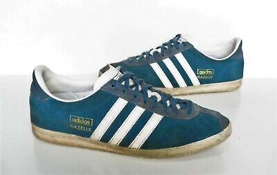 Mens ADIDAS GAZELLE Blue suede Leather Trainers Size 9 Worn Cond
