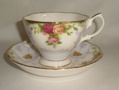 Royal Albert Rose Cameo Violet Cup and Saucer Bone China   Excellent Condition!