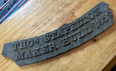 Antique CAST IRON Sign Thos Stapleton Maker Hull 1859 Architectural Salvage Old