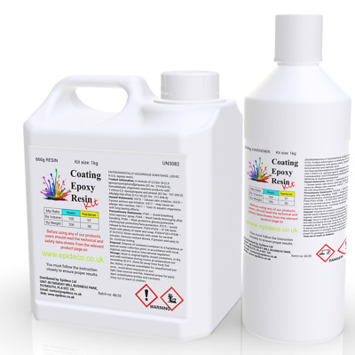 1kg Epoxy Resin Clear 2:1 All Purpose Penny Floors Table Tops 12h Cure Time