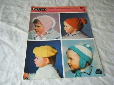 Vintage Knitting Pattern, Children's hats, upto 2 years, Patons 9299