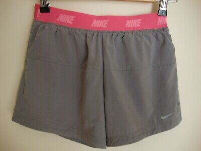 Nike Junior Girl's Size M  Dri-fit Shorts -Grey with Pink waistband Brief Insert
