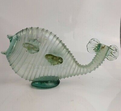 a Rare Antique Hand Blown Green Glass Fish Bottle c19th Victorian Novelty Flask