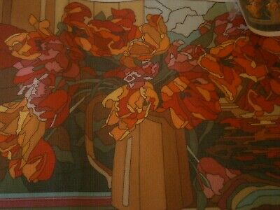 Actuelle (France) DMC embroidery printed canvas, vibrant floral - no thread
