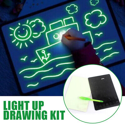 A4 Light Up Drawing Board Draw Sketchpad Board Kids Developing Toy Gift w/ Pen