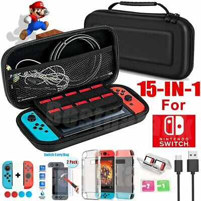 For Nintendo Switch Case Bag+Shell Cover+Charging Cable+Protector Game Black UK
