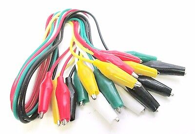 Crocodile Electric Test Leads 10pc Coloured Cable Wire Double End Jumper Clip