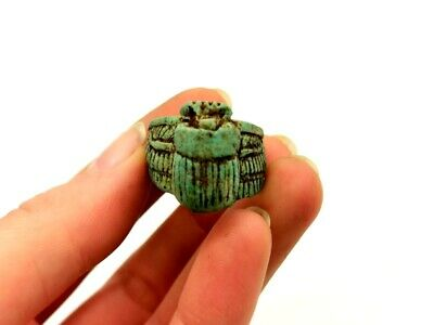 Ancient Egyptian Ca.1000 Bc Faience  Winged Scarab Ring -  R 911