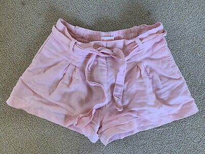 Country Road Girls Pink Linen Cotton Shorts Broderie Sz 7