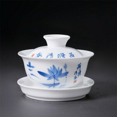 "Ceramic Gaiwan 3.5"" Chinese Kung Fu Tea Ware Sancai Tea Bowl Tea Cup and Saucer"