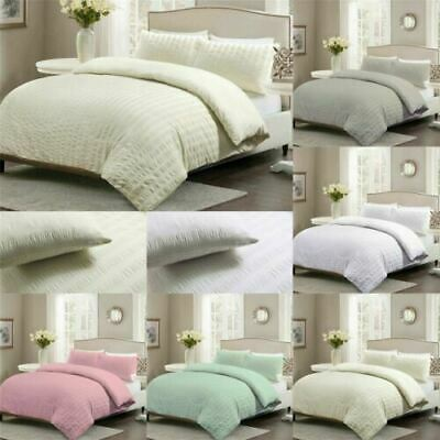 Seersucker Duvet Cover with Pillowcase Luxury Quilt Cover Bedding Set All Sizes