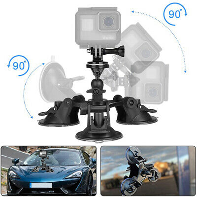 Triple Suction Cup 90° Rotate Car Mount Holder for DSLR GoPro Hero Osmo Action