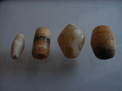 4 Ancient Neolithic Agate, Quartz Beads, Stone Age, RARE ! TOP!