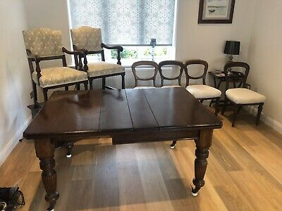 Antique Victorian Mahogany Wind Out Dining Table With 6 Chairs