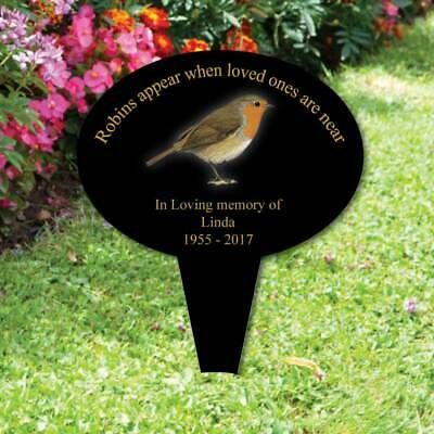 Personalised memorial oval plaque + spike  Robins In Loving Memory Garden Plaque