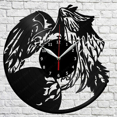 The crow Vinyl Wall Clock Made of Vinyl Record Original gift 2480