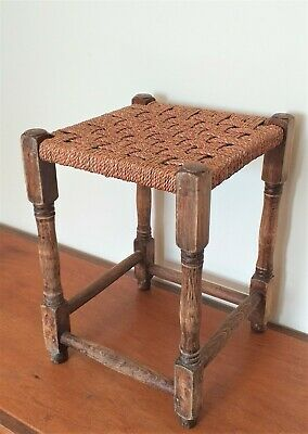 Vintage Rustic Classic Square Solid Oak Wood Occasional Stool With Rattan Seat