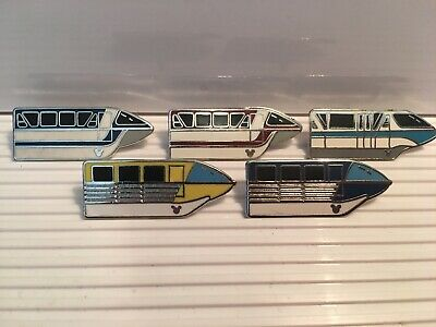 Rare~Disney~Set Of 5~Hidden Mickey Monorail~Pin Set~1 3/16 Inches Long Each