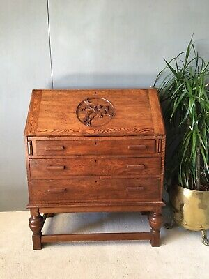 Stunning Arts & Crafts Golden Oak Antique Bureau Computer Desk Drawers Storage