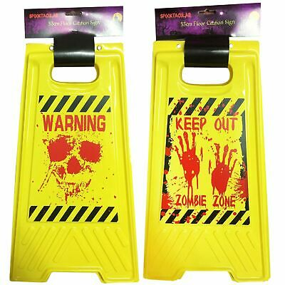 53Cm Assorted Design Floor Caution Sign Scary Halloween Accessory