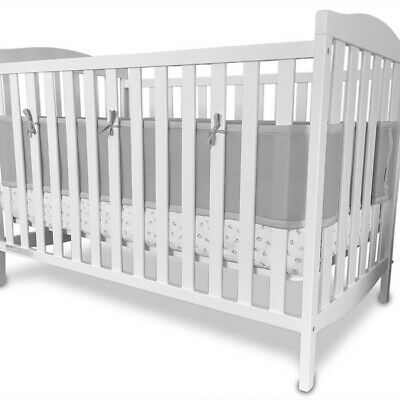 Baby Infant Breathable Crib Bumper Pad Protector Crib Padded Liners, White /Gray