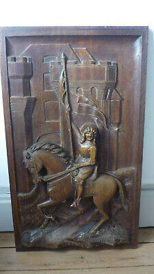 Antique French Large Deep Carved Architectural Panel Door Oak st joan of arc