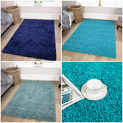 Thick Soft Cheap Modern Blue Navy Teal Quality Shaggy Rugs Living Room NON SHED