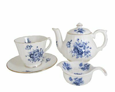 English Blue and White Roses Individual Teapot or Tea Strainer by Golden Crown,