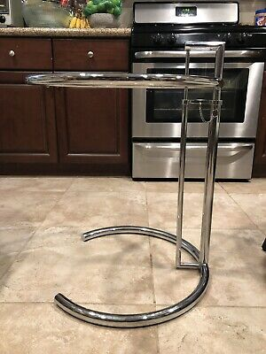 Eileen Gray Vtg Mid Century Modern Chrome Glass Side End Coffee Table