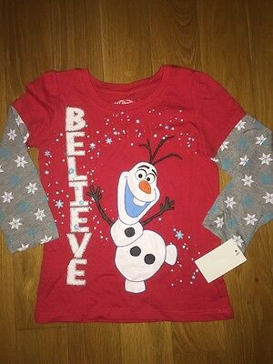NWT DISNEY FROZEN OLAF BELIEVE Long Sleeve Shirt Red Sparkle Girls 4T Snowflake