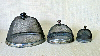 Antique PRIMITIVE Miniature SHOO FLY SCREEN FOOD COVERS Wire Mesh Collection