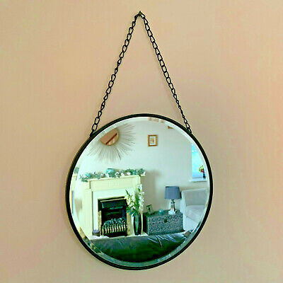Industrial Metal Chain Hanging Porthole Round Bathroom Glass Wall Mounted Mirror