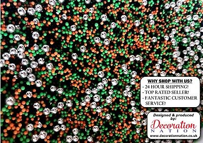 100's & 1000's Halloween Mix With SILVER PEARLS Edible SPRINKLES Cake Decoration