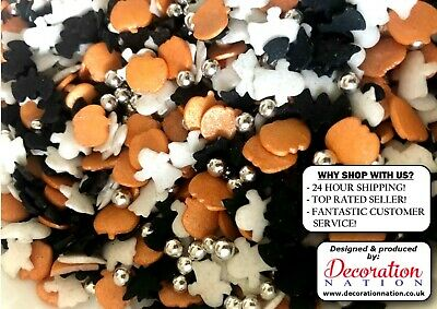 Glimmer Shapes - Halloween Mix W/ SILVER PEARLS Edible SPRINKLES Cake Decoration