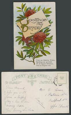 Greetings on thy Birthday Flowers Take my Birthday Wishes, Goodwill Old Postcard