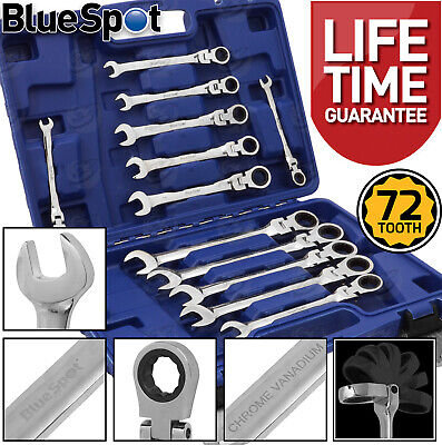 Flexible Ratchet Spanners 8mm - 19mm Flexi Combination Wrench Combi Spanners x12
