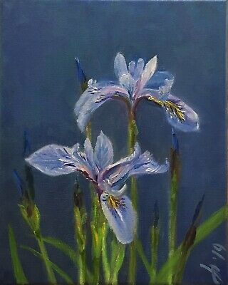 "Original oil painting, Floral, BLUE IRIS  8x10"". Schelp"
