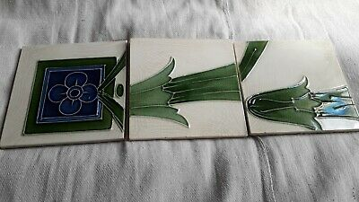 3 Antiques Ceramic Majolica Tiles 1930`s? Size 6. 1/8 Inches Squarex 1/4 Thick