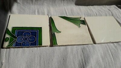 3 Antiques Ceramic Majolica Tiles 1930`s ? Size 6. 1/8 Inches Squarex 1/4 Thick
