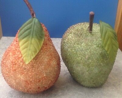 Set of Two Artificial Fruit Glass Beaded Pear & Apple Ornaments