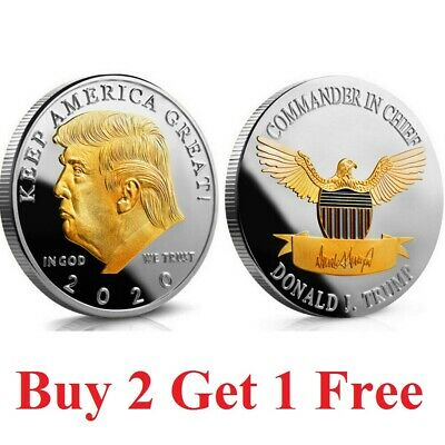 Us seller 2020 President Donald Trump 24k Gold Plated EAGLE Commemorative Coin